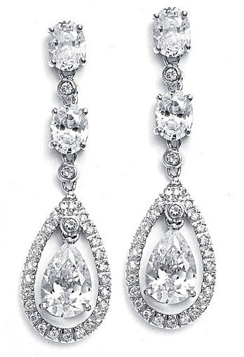 Caged Pear Cubic Zirconia Earrings - Perle Jewellery & Makeup