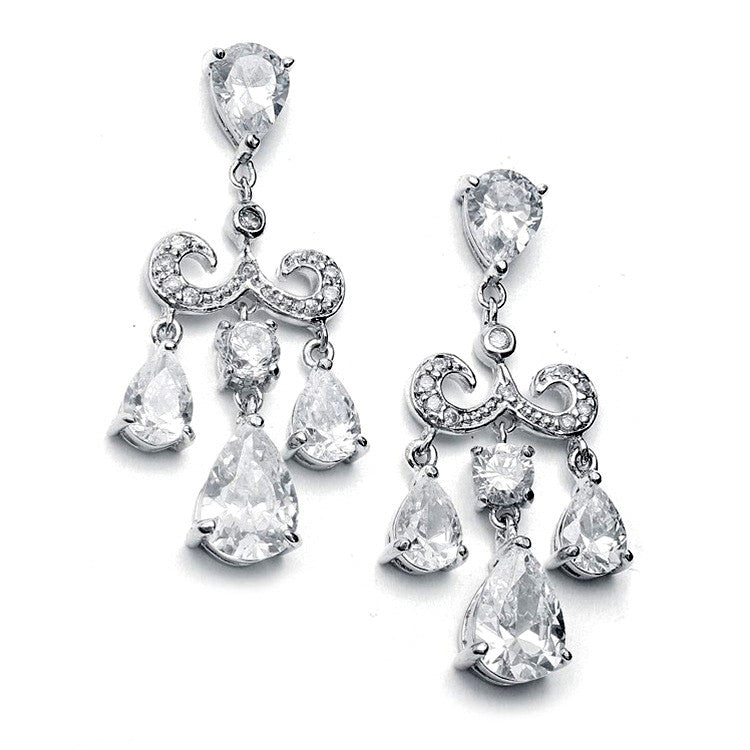 Cubic Zirconia Petite Chandelier Pear Earrings - Perle Jewellery & Makeup
