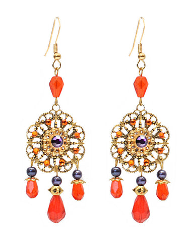 Lace Filigree Chandelier Earrings - Orange & Aubergine