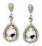Large Crystal Teardrop Earrings- Gold - Perle Jewellery & Makeup  - 1