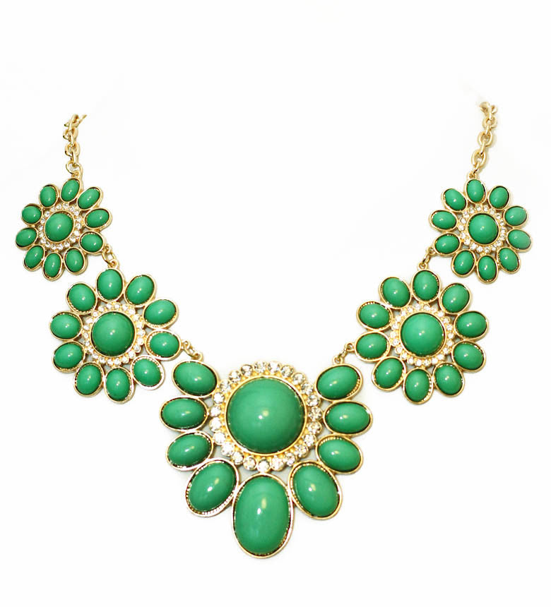 Flower Power Necklace- Green - Perle Jewellery & Makeup  - 1
