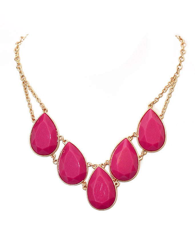 Teardrop Pendant Necklace - Fuchsia