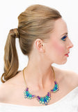 Jewel Flourish Necklace- Aqua - Perle Jewellery & Makeup  - 3