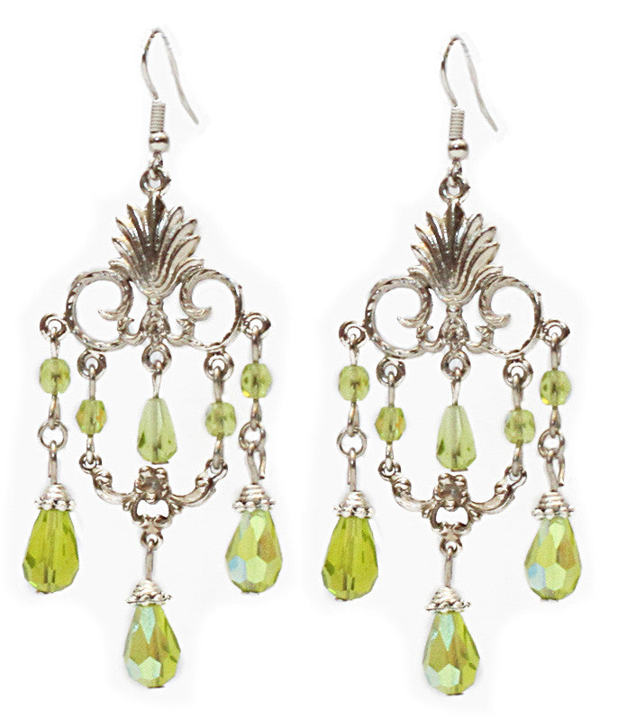 Layered Art-Deco Lime Earrings