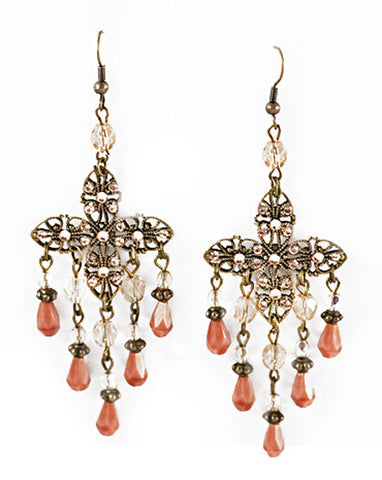 Dusky Pink Chandelier Earrings