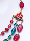 3-Strand Pink & Aqua Glass necklace - Perle Jewellery & Makeup  - 2