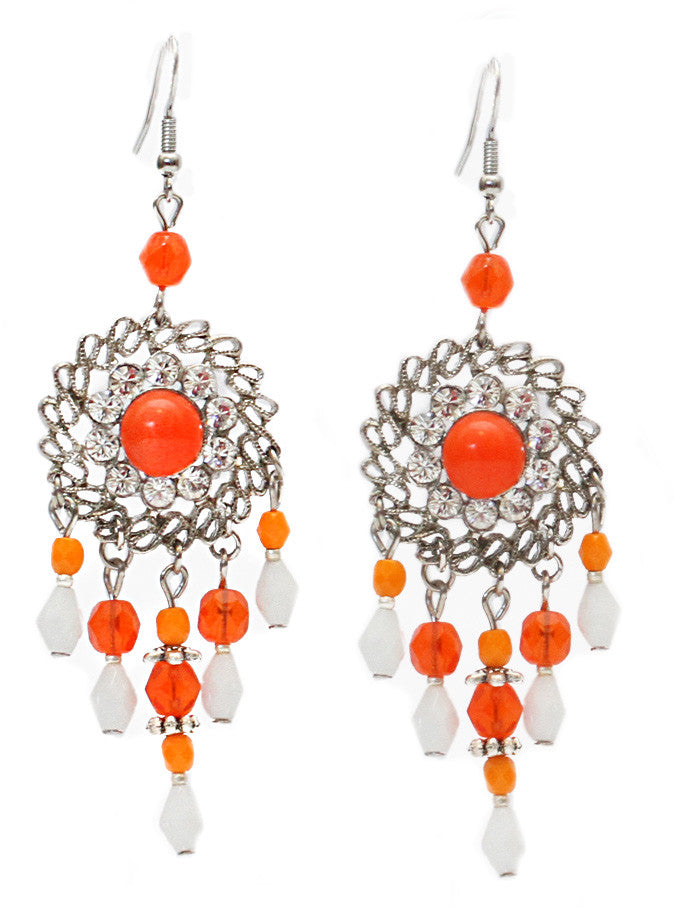 Round Ribbon Lace Earrings- Orange