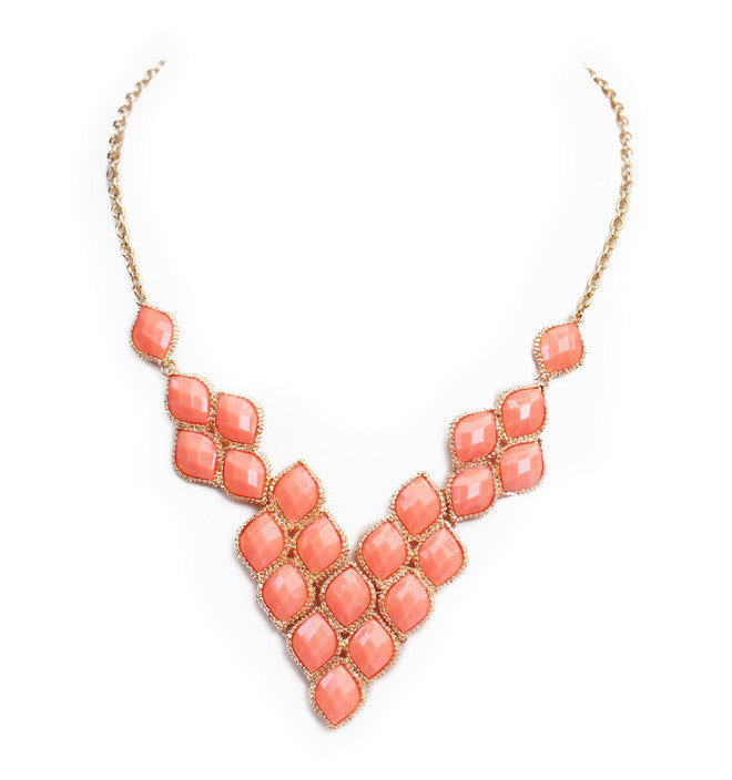 V-Neck Pavement Necklace - Peach