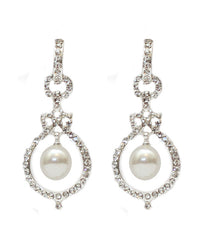 Round Diamonte Pearl Earrings- Gold or Silver - Perle Jewellery & Makeup  - 1