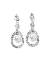 Pave CZ Wedding Earrings with Caged Pearl - Perle Jewellery & Makeup  - 1