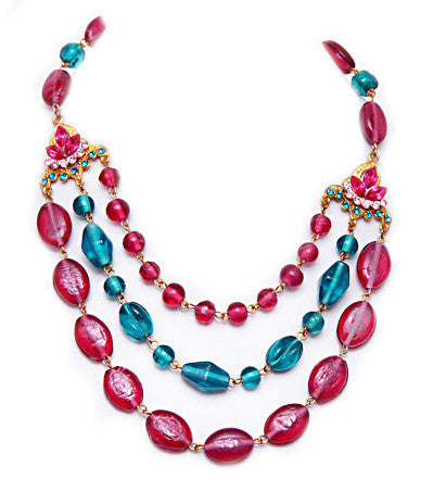 3-Strand Pink & Aqua Glass necklace