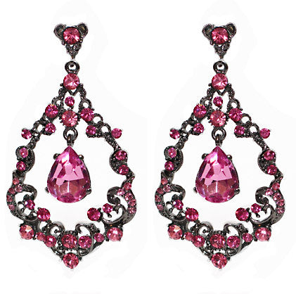 Victoria Filigree earrings- Pink - Perle Jewellery & Makeup  - 1