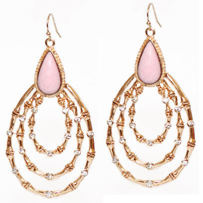 Diamonte Loop Earrings- Pink