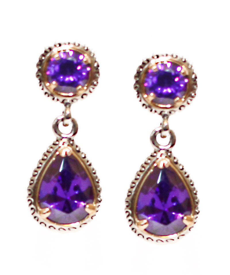 Purple Teardrop Pendant Earrings - Perle Jewellery & Makeup  - 1