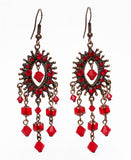 Red Cathedral Chandelier Earrings - Perle Jewellery & Makeup  - 1