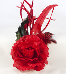 Red Floral Fascinator - Perle Jewellery & Makeup  - 1