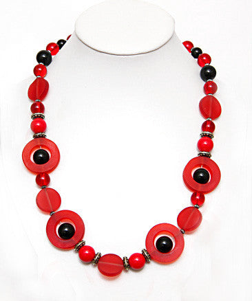 Round Red Resin Necklace - Perle Jewellery & Makeup