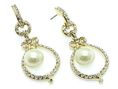 Round Diamonte Pearl Earrings- Gold or Silver - Perle Jewellery & Makeup  - 2