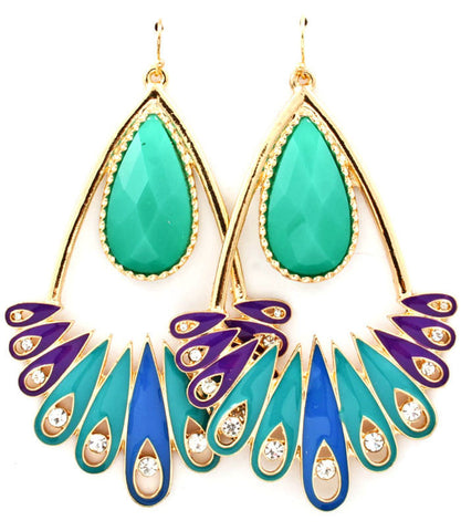Jewel Flourish Earrings - Aqua