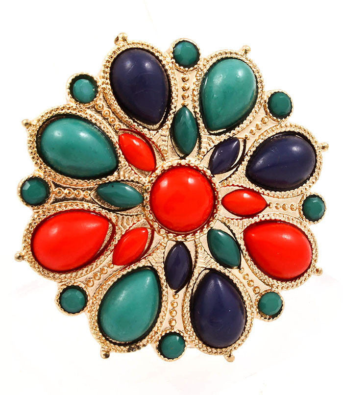 Multi-Coloured Navette Ring