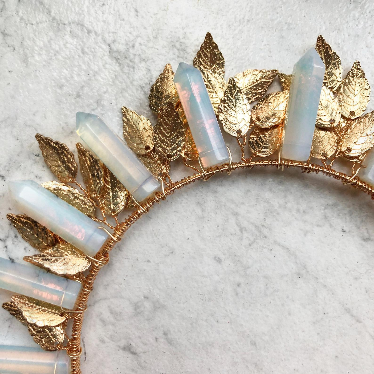Opalite Leaf Crystal Crown