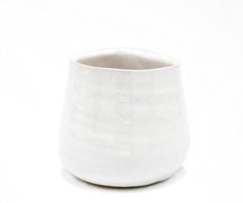 Ceramic White/Wooden Wick Candle