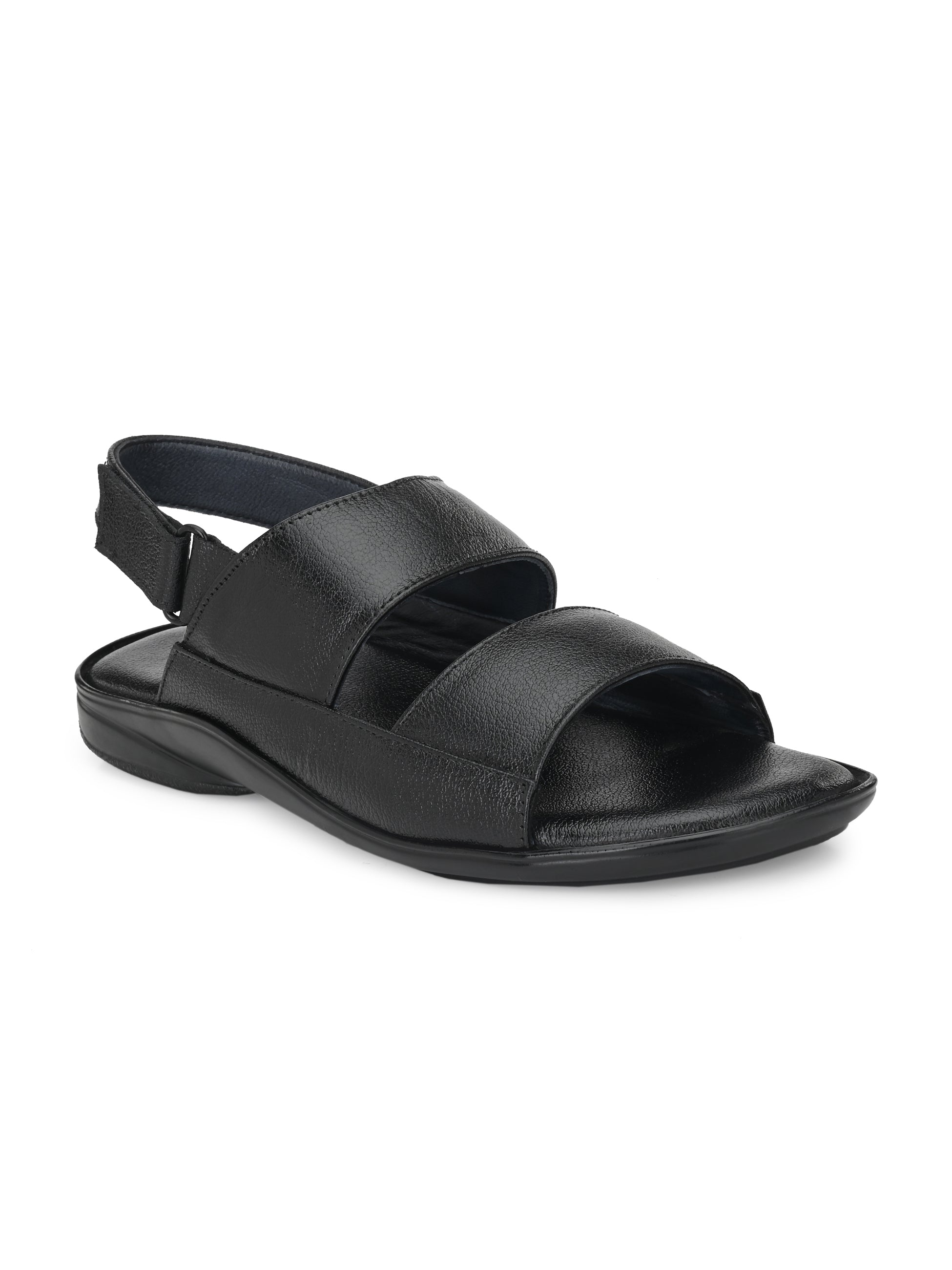 Lavish Black Genuine Leather Open Toe Sandal - shoegaro