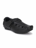 Black Leather Husky Roman Sandal - shoegaro