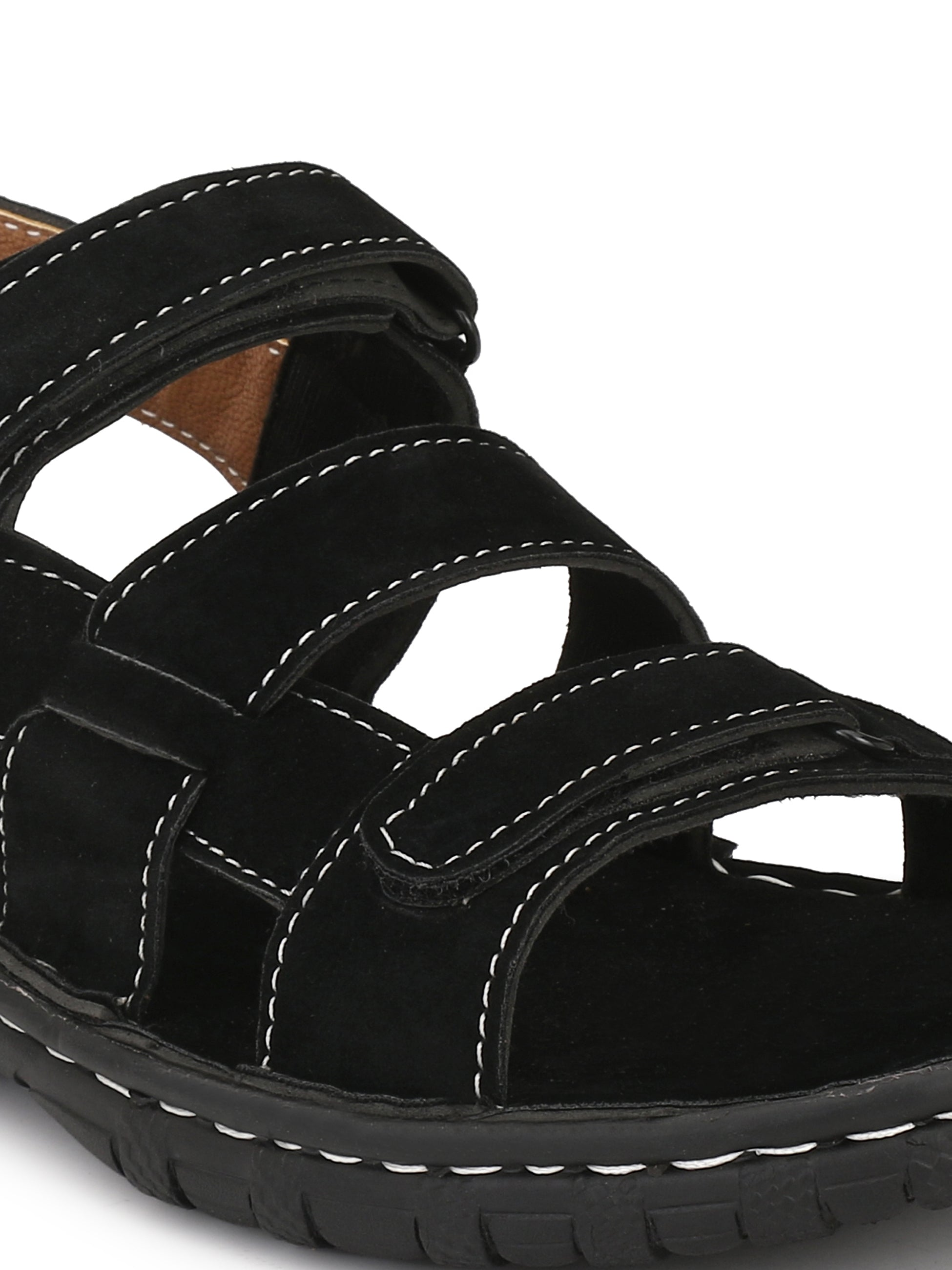 Open Toe Black Strappy Sandals - shoegaro