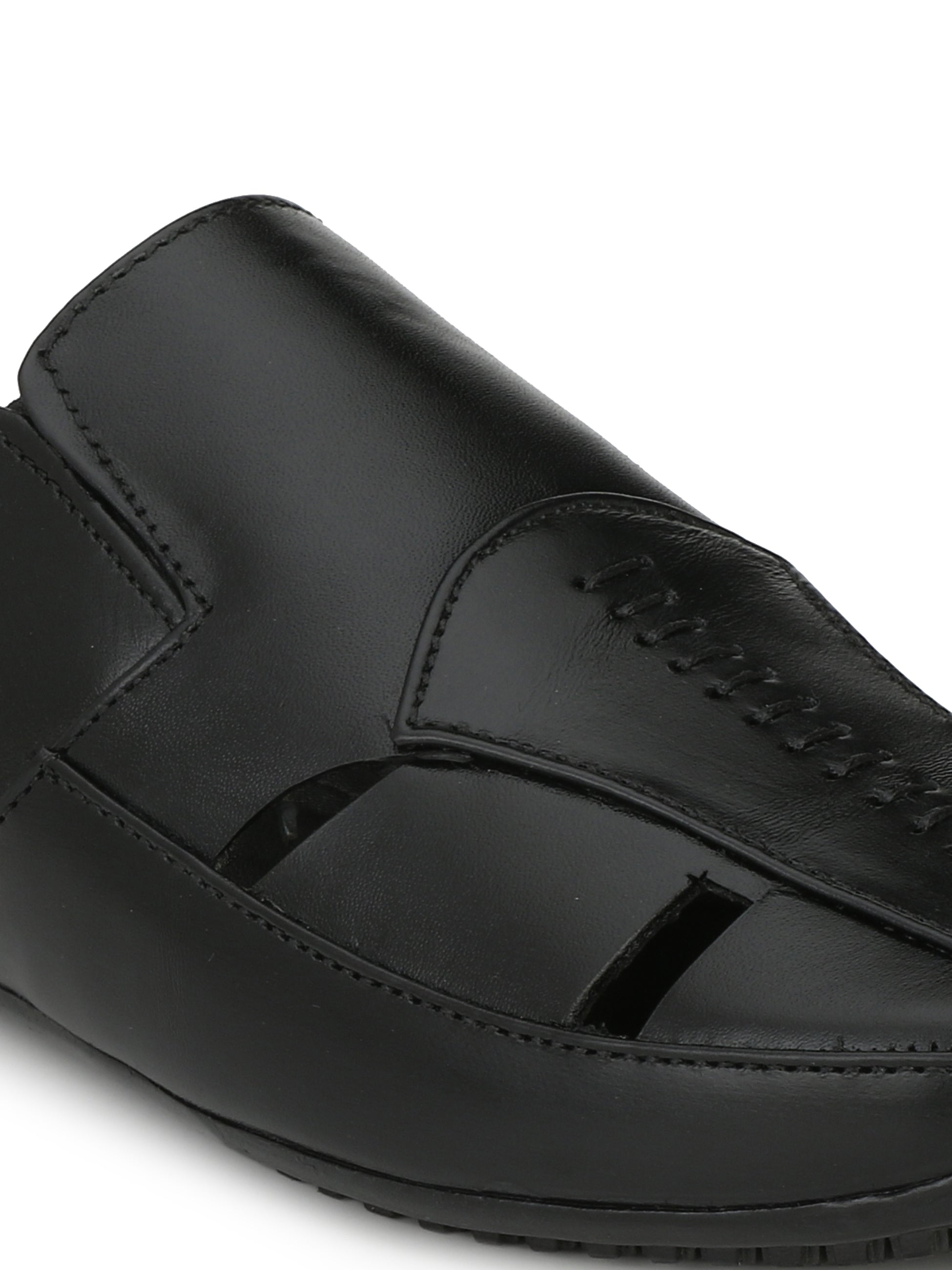 Black Genuine Leather Mule - shoegaro