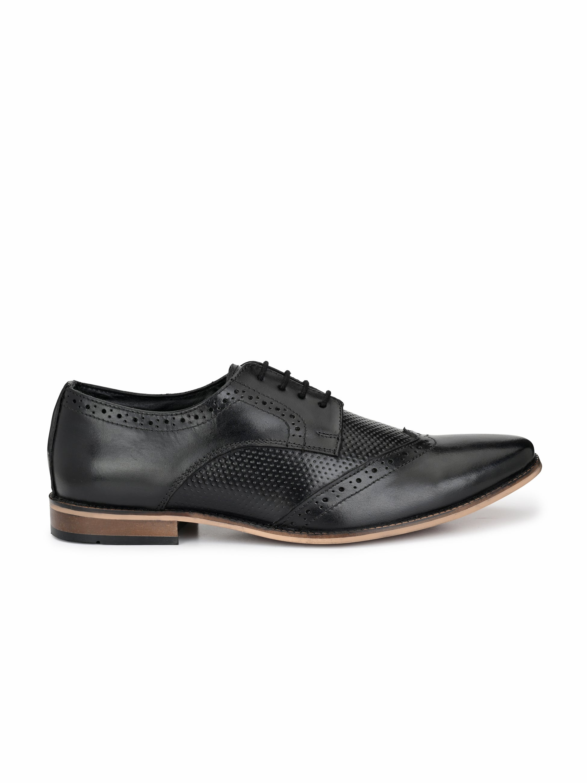 Black Leather Derby Brogues - shoegaro