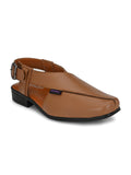 Classy Tan Leather Sandal - shoegaro