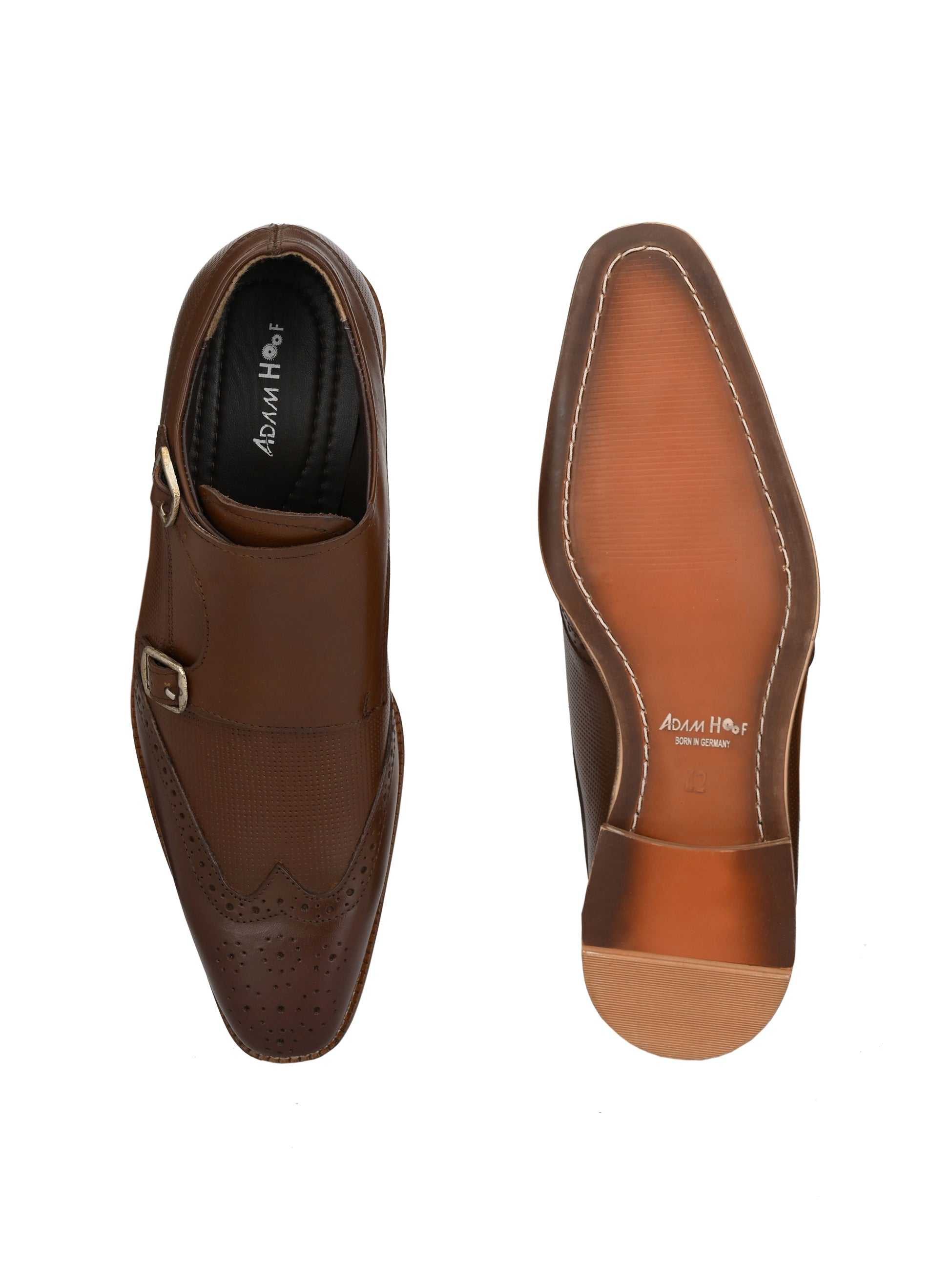 Brown Leather Monk Brogues - shoegaro