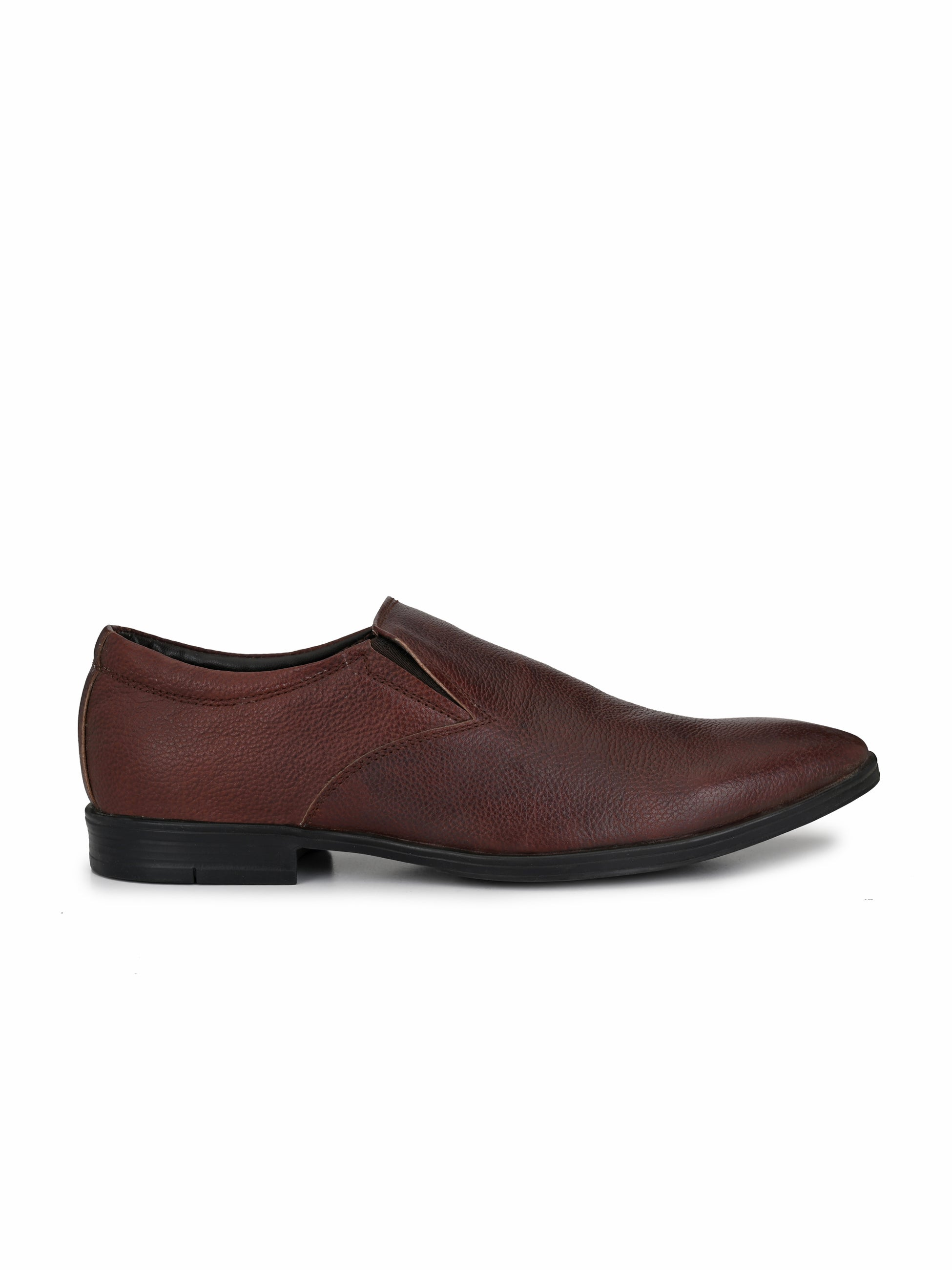 Brown Leather Slip-on Shoes - shoegaro