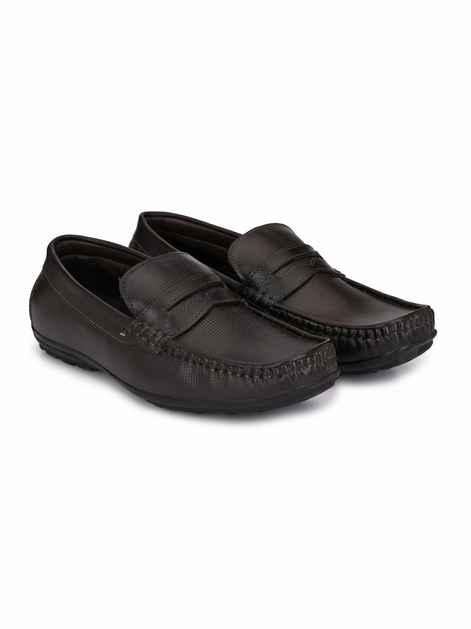 Brown Gingham Leather Loafers - shoegaro