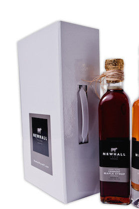 Newhall Farm Vermont Maple Syrups in holiday gift box with magnetic closure. #Suitcasefullofflavor