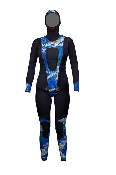PoloSub Womens Open Cell Blue Camo Wetsuit 5.5mm