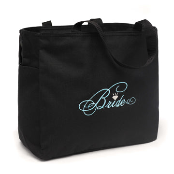 Bride Diamond Tote Bag Black with Aqua Bridal Party Tote Bag