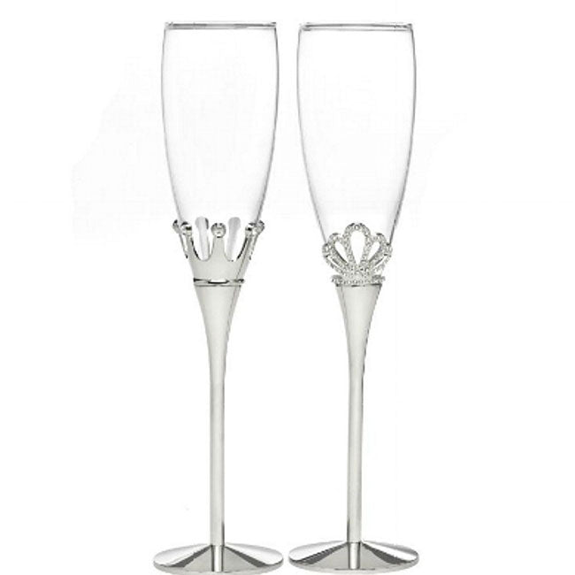 King and Queen Wedding Toasting Flutes Set of 2