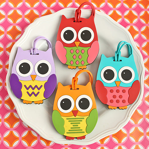 Colorful Unique Owl Luggage Tags Set of 4
