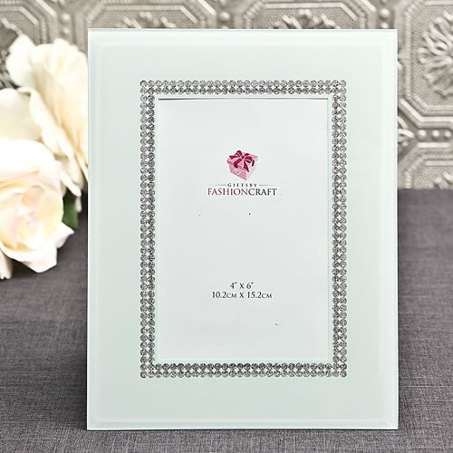 White Glass Picture Frame with Silver