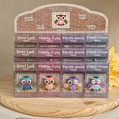 Set of 4 Sentimental Wise Owl Magnets