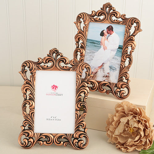 Vintage copper Baroque Design 4 x 6 Picture Frame