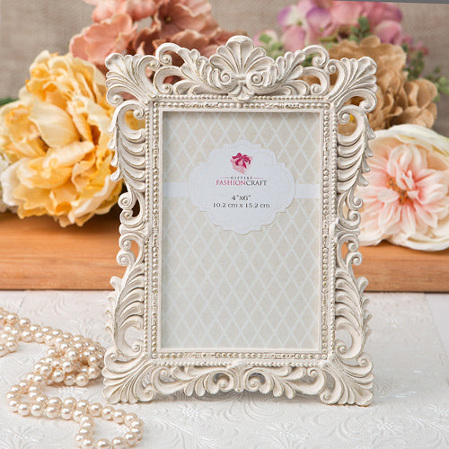 Antique Ivory Picture Frame with Brushed Gold Leaf