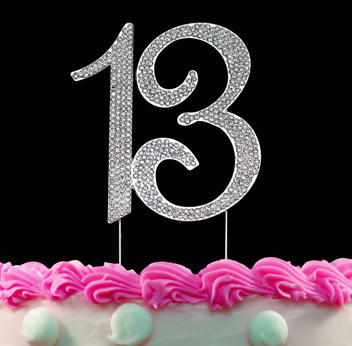13th Birthday Cake Toppers Bling Cake Topper 13 Birthday Decorations Silver or Gold