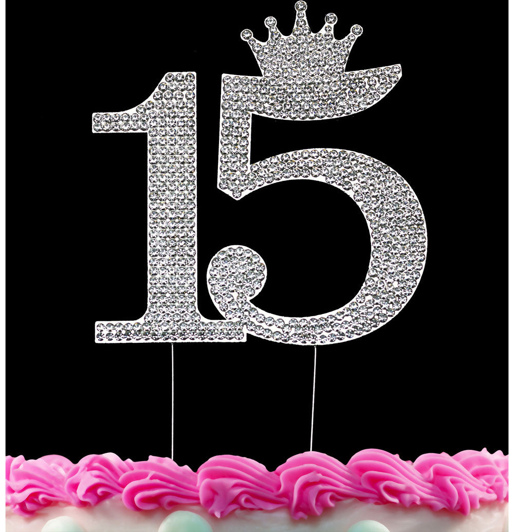 15th Birthday Cake Toppers Quinceanera Cake Topper Princess Crown Caketop Silver or Gold