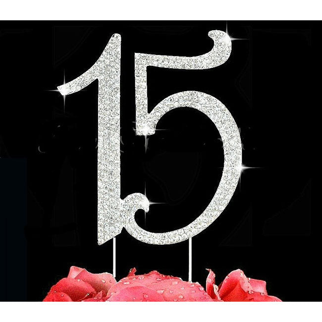 15th Birthday Cake Toppers Quinceaner​a Number 15 Bling Cake Topper Silver or Gold