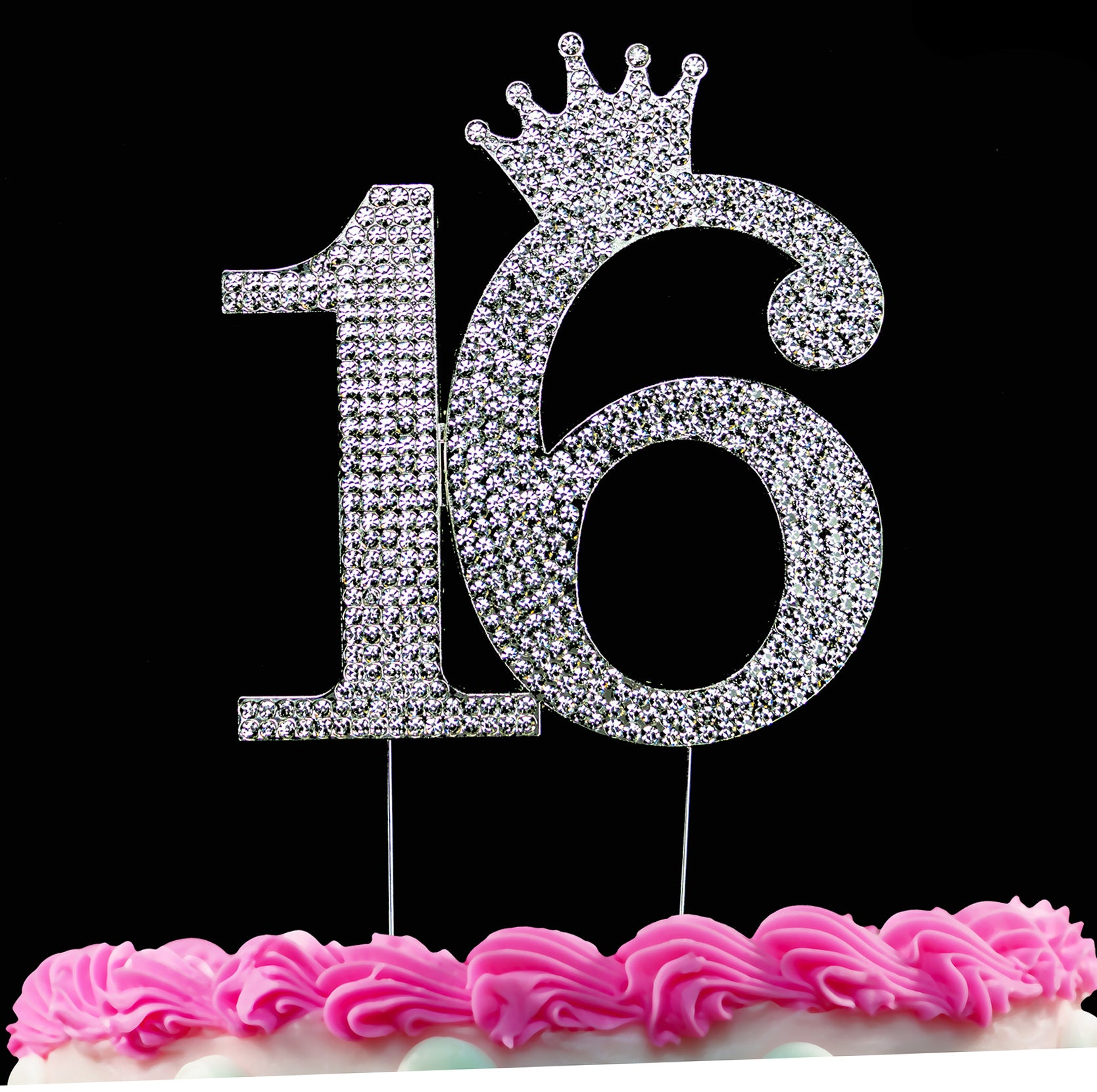 16th Birthday Cake Toppers Sweet 16 Cake Topper Princess Crown Cake Top Silver or Gold