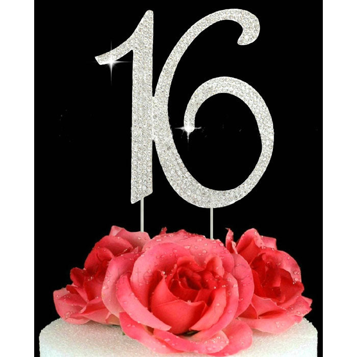 16th Birthday Cake Toppers Number 16 Bling Crystal Cake Topper Silver or Gold