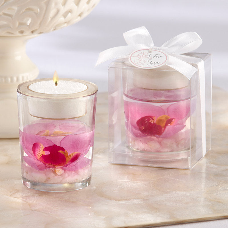 Orchid Gel Candle Tealight Holder